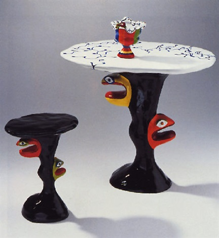 Niki de Saint Phalle-Tabouret, table et vase-1982
