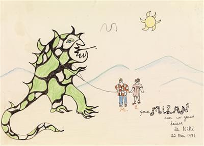 Niki de Saint Phalle-Sans titre, (Couple et Dragon)-1981