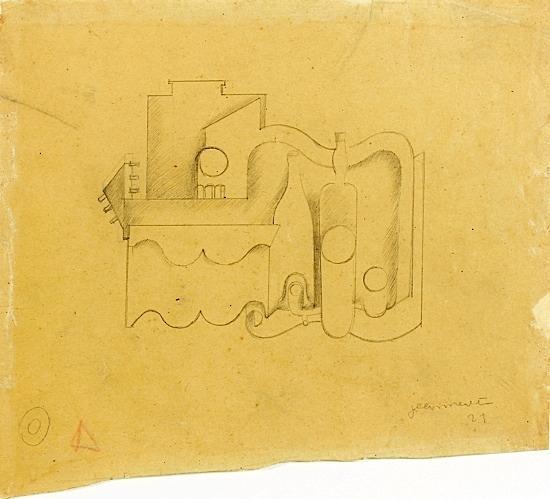 Le Corbusier-Composition puriste a la bouteille-1921