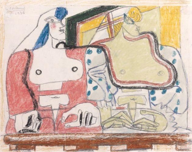 Le Corbusier-Etude pour deux femmes a la balustrade-1936