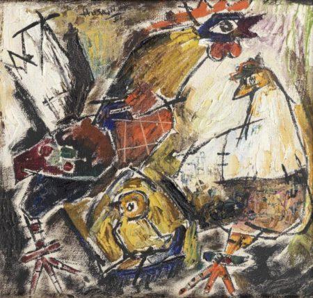 Maqbool Fida Husain-Untitled (Cockerels)-1951