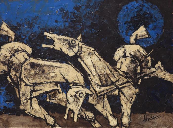 Maqbool Fida Husain-Untitled (Horses)-1978