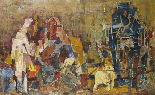 Maqbool Fida Husain-Two Women with Elephants-
