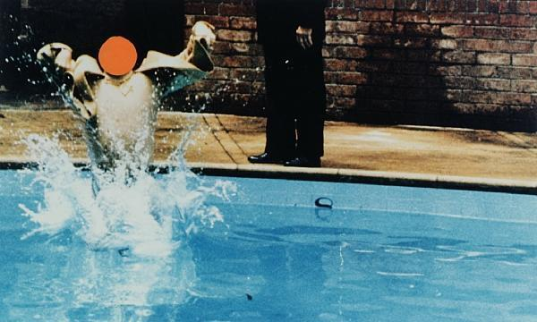 John Baldessari-Ascension (Orange) with Pool and Onlooker-1997