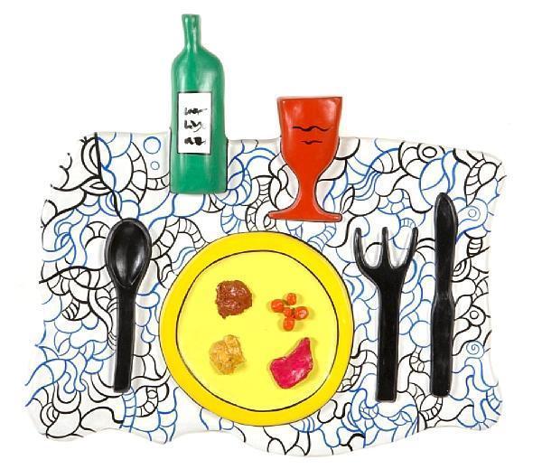 Niki de Saint Phalle-Repas, The Feast, dentelle bleue et noire (Remembering)-1998