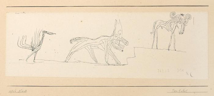 Paul Klee-Tierfabel (Vogel, Hund und Widder)-1926