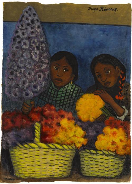 Diego Rivera-Dos muchachas con las flores-