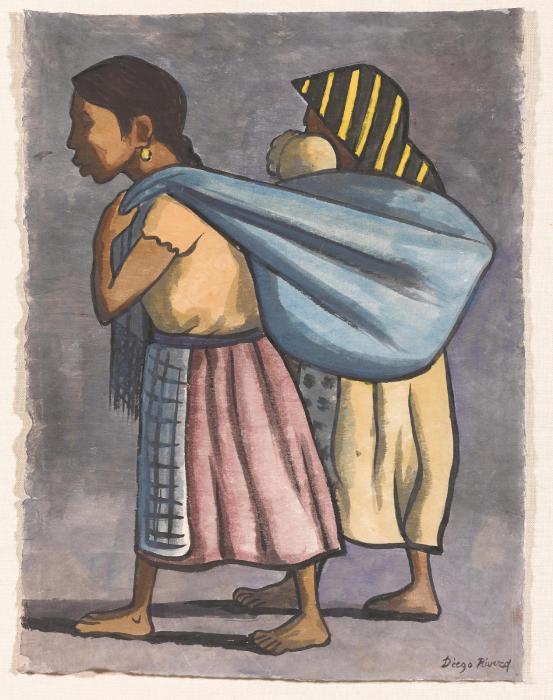 Diego Rivera-Dos mujeres campesinas con un bebe-