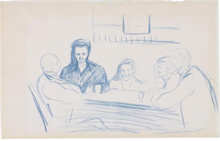 Edvard Munch-August Strindberg, Edvard Munch and Friends at the Cafe 'Zum Schwarzen Ferkel', Berlin-1893