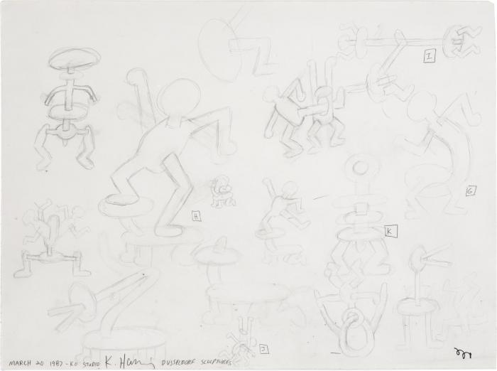 Keith Haring-Keith Haring - Study for Dusseldorf Sculptures-1987