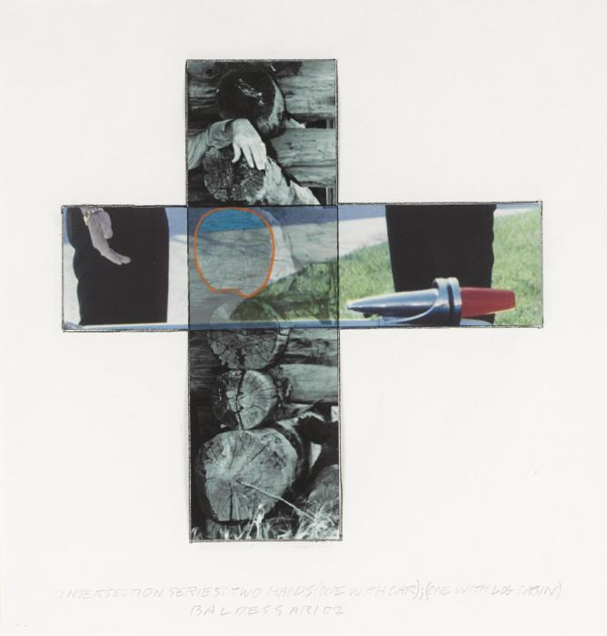 John Baldessari-Intersection Series: Two Hands (One with Car) (One with Log Cabin)-2002