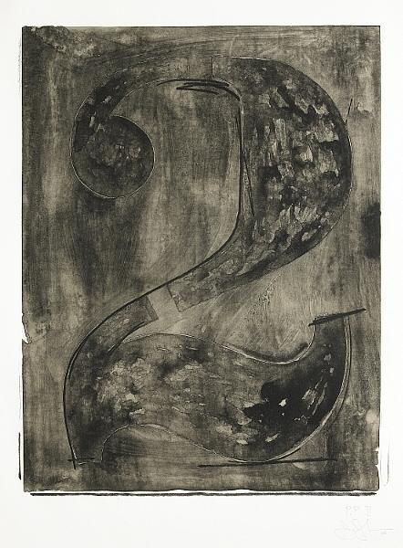 Jasper Johns-Figure 2, from Black Numeral Series (ULAE 46. G.89)-1968