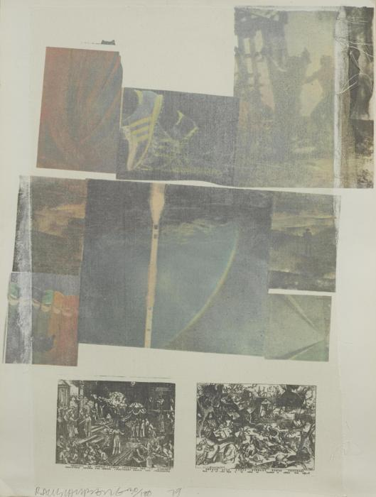 Robert Rauschenberg-Robert Rauschenberg - People Have Enough Trouble Without Being Intimidated By An Artichoke/ Two Reasons Why Birds Sing (From Suite of Nine Prints)-1979