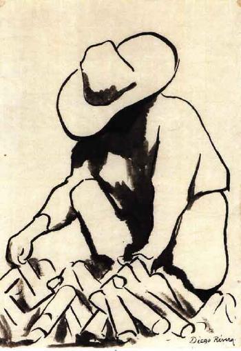 Diego Rivera-Figure Gathering Wood-