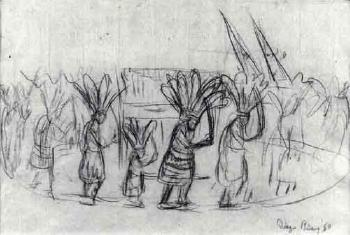 Diego Rivera-A Sketch of Figures at an Indian Ceremony-1950