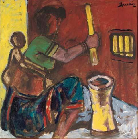 Maqbool Fida Husain-Untitled (Peasant Woman)-