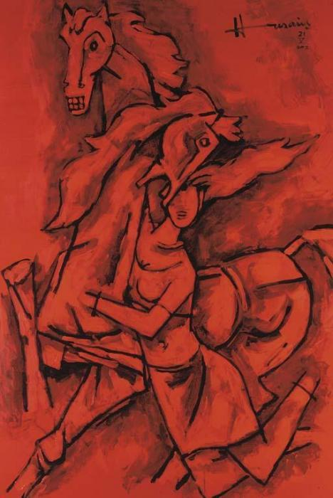 Maqbool Fida Husain-Untitled (Woman and Horses)-2002