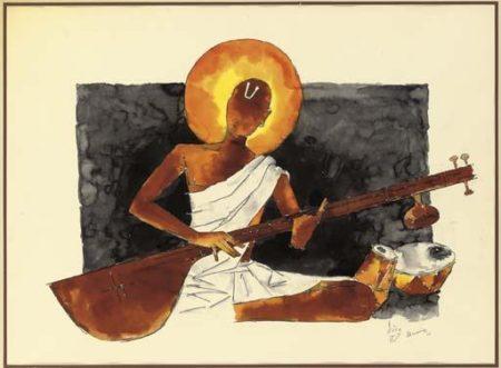 Maqbool Fida Husain-Untitled (Figure Playing a Veena)-1977