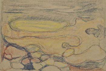 Edvard Munch-Melancolie: etude de rochers et bord de mer-1900
