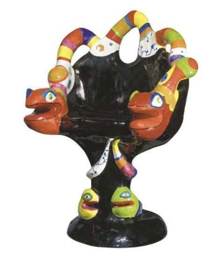 Niki de Saint Phalle-Fauteuil noir (Grand fauteuil au serpent), Snake chair, (Snake Chair (fauteuil))-1982