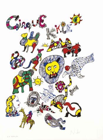 Niki de Saint Phalle-Le Cirque Knie (sur fond blanc)-1980