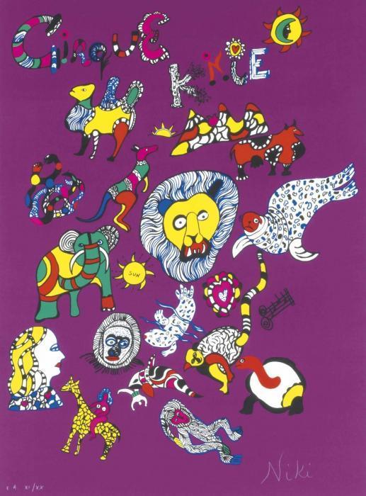 Niki de Saint Phalle-Le Cirque Knie (sur fond violet)-1980