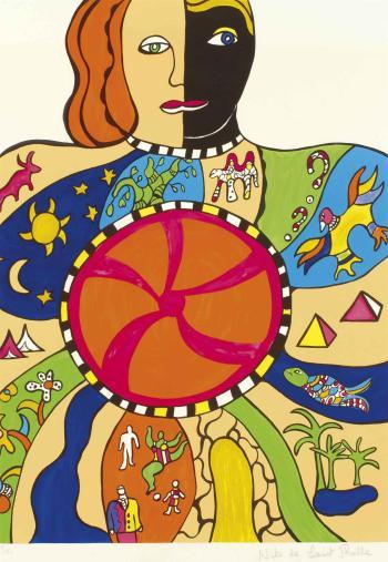 Niki de Saint Phalle-Le couple, (Moitie homme moitie femme), (Nana soleil-1993