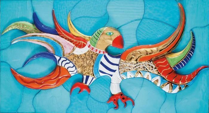 Niki de Saint Phalle-L'oiseau sur fond bleu-1987