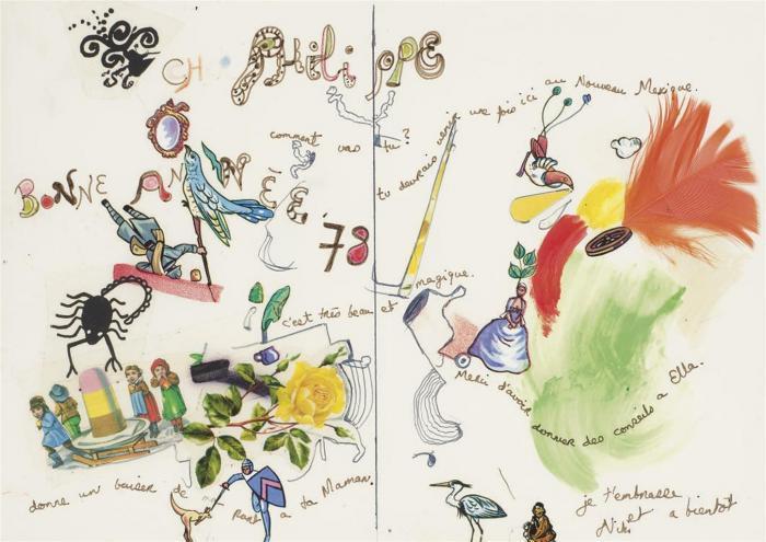 Niki de Saint Phalle-Cher Philippe comment vas-tu bonne annee '78-1978