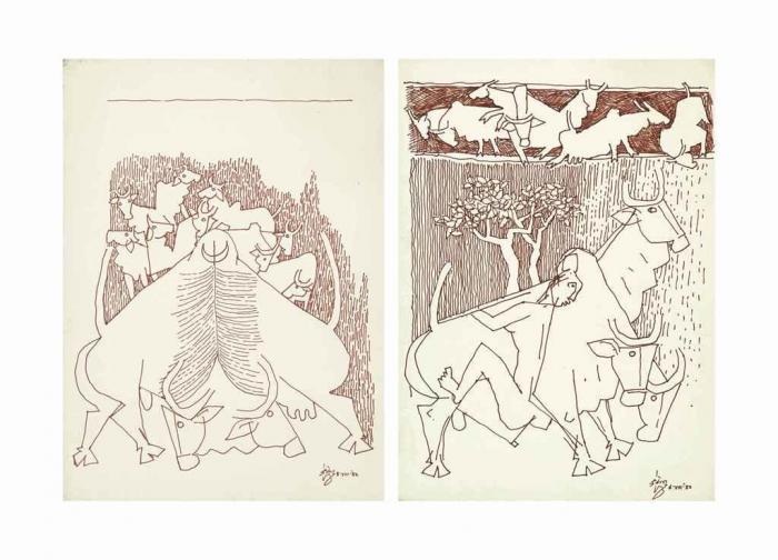 Maqbool Fida Husain-Untitled (Bulls)-1982