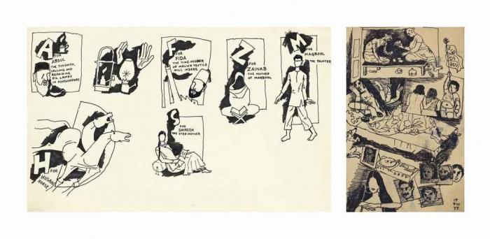 Maqbool Fida Husain-(i) Untitled (Autobiography); (ii) Untitled (Siddiqui)-1977