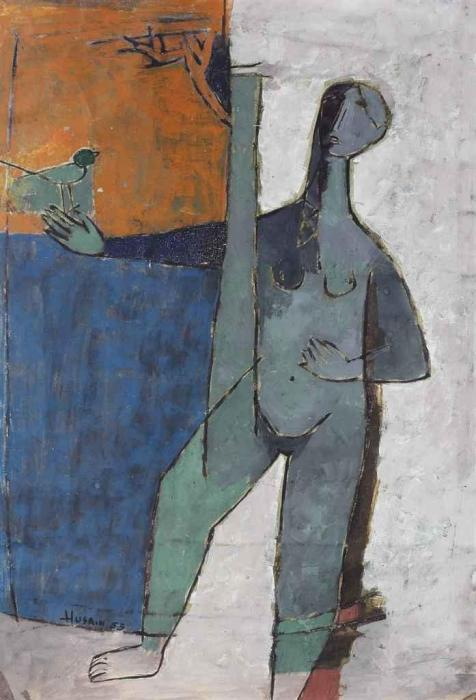 Maqbool Fida Husain-Untitled (Girl with Bird)-1953