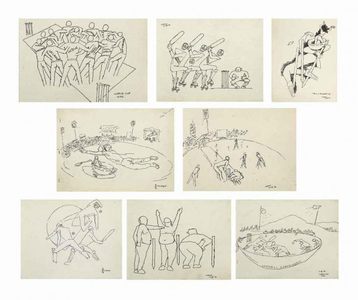 Maqbool Fida Husain-Untitled (Cricket Series); Storm in the World Cup; World Cup 1996-1988