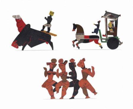 Maqbool Fida Husain-(i) Untitled (Farmer); (ii) Untitled (Nadi Kinare); (iii) Untitled (Tonga)-1950