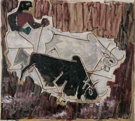 Maqbool Fida Husain-Untitled (Farmer and Bulls)-1950