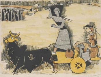 Maqbool Fida Husain-Untitled (Yatra)-1950