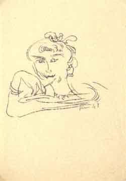 Lucio Fontana-Volto femminile-1948