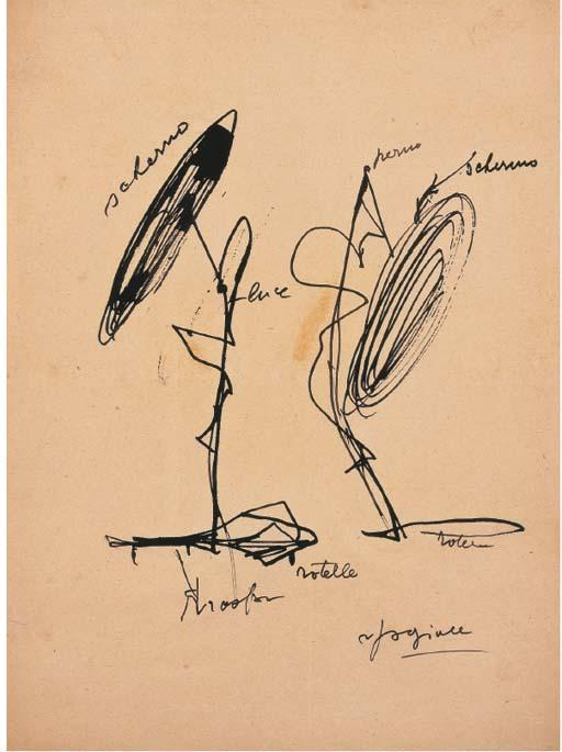 Lucio Fontana-Studi per lampada al neon-1951