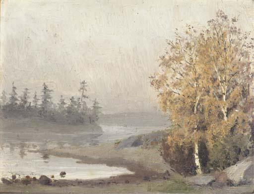 Edvard Munch-Early Morning River Landscape-