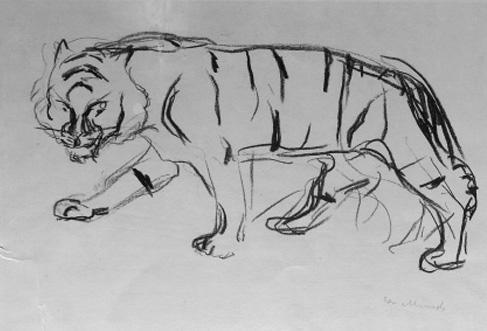 Edvard Munch-Gaende Tiger / Tiger Walking / Schreitender Tiger-1909