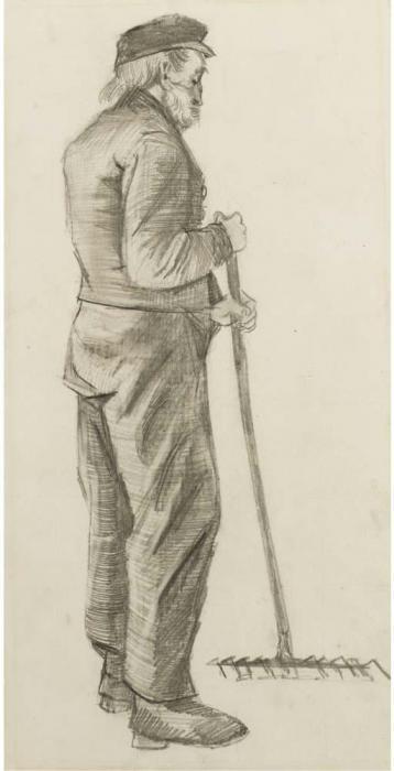 Vincent van Gogh-Almshouse Man (Mr Adrianus Zuyderland) raking-1882