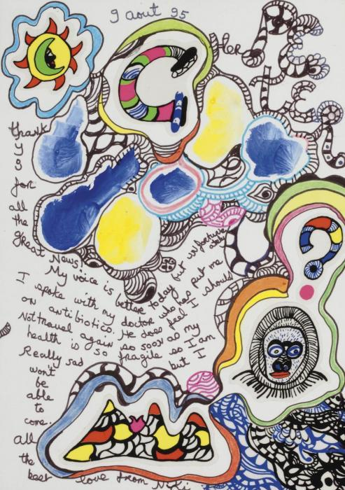 Niki de Saint Phalle-Cher Peter, thank you for all the great news-1995