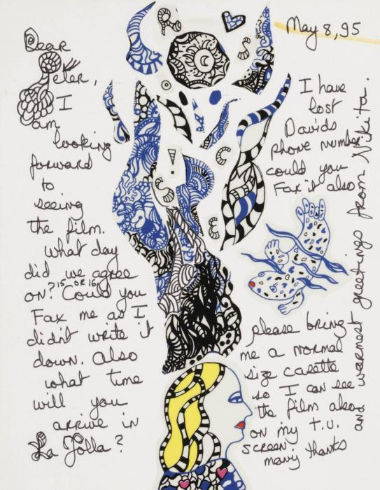 Niki de Saint Phalle-Dear Peter, I am looking forward to seeing the film-1995