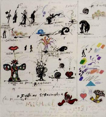 Niki de Saint Phalle-Fontaine Stravinsky, New Year's Card-1983