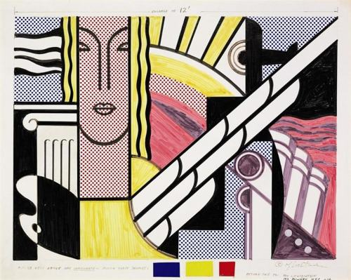 Roy Lichtenstein-Collage for Modern Painting with Classic Head-1967