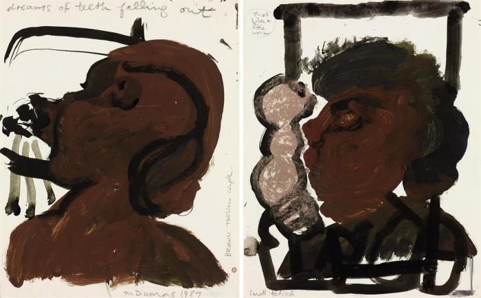 Marlene Dumas-(i) Just Like a Little Worm--Small Fetisch; (ii) Dreams of Teeth Falling-1990