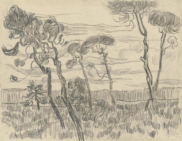 Vincent van Gogh-Six pines near the enclosure wall-1889