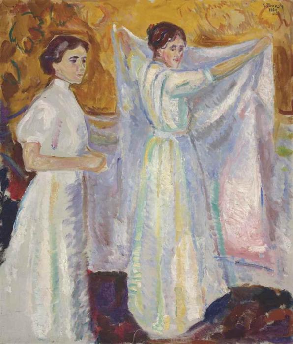 Edvard Munch-Nurses Holding a Sheet / Sykepleiersker med Laken / Two Nurses-1909