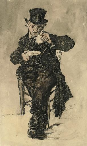 Vincent van Gogh-Orphan Man with a top Hat drinking a Cup of Coffe-1882