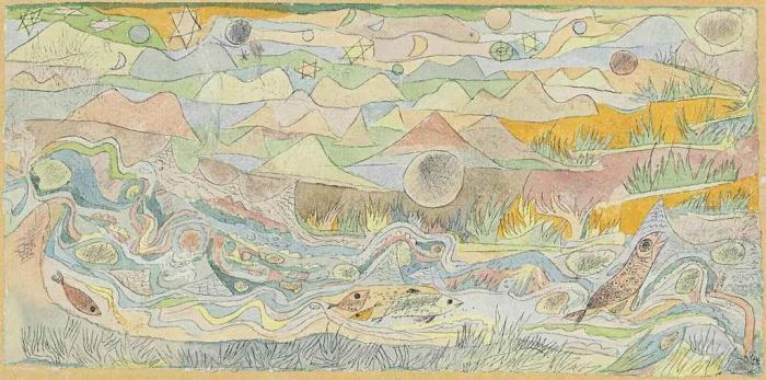Paul Klee-Forellenbach Miniaturartig (Trout Brook Miniature-like)-1916